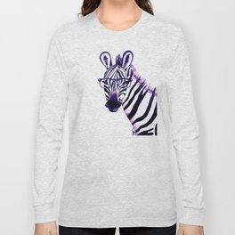 Zebra with glasses, purple Long Sleeve T-shirt