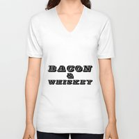 whiskey V-neck T-shirts featuring Bacon & Whiskey by Florian Rodarte
