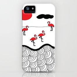 Red flamingos iPhone Case