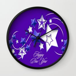 Blue and Purple Happy New Year Shooting Stars  Wall Clock