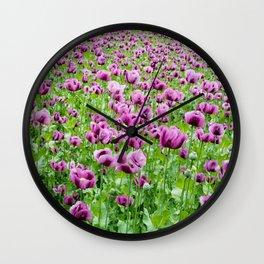 Purple Poppies Wall Clock