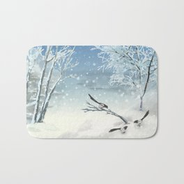 Magpie Winter Landscape Bath Mat