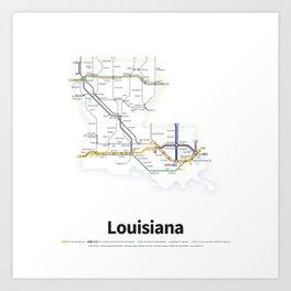 Highways of the USA – Louisiana Art Print
