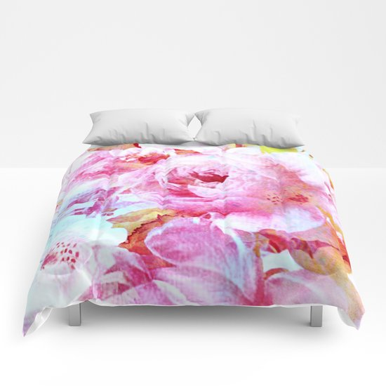 floral with turquoise spatter Comforters