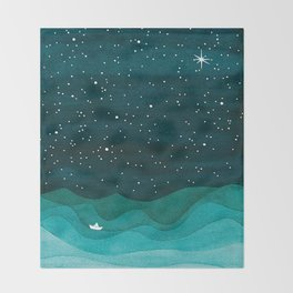 Starry Ocean, teal sailboat watercolor sea waves night Decke
