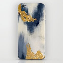 Blue and Gold Ikat Abstract Pattern #2 iPhone Skin