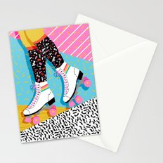 Steeze - 80's memphis rollerskating rad neon trendy art gifts throwback retro vibes Stationery Cards