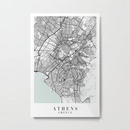 Athens Greece Blue Water Street Map Metal Print