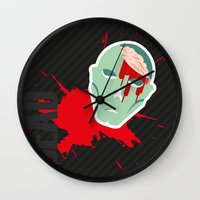 the walking dead Wall Clocks featuring dead walking by Tudisco