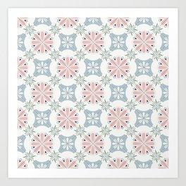 Pink & Blue Floral Tiles Art Print