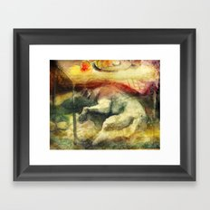 Dog under a table with fruits and flowers. Framed Art Print