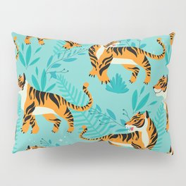 Yellow Tigers on Turquoise Pillow Sham