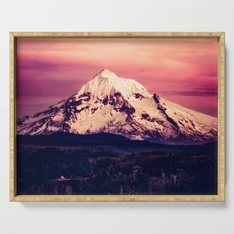 Mt Hood Mountain with Snow Serving Tray