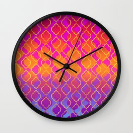 Bold Vivid Vibrant Colorful Pink Orange Gold Wall Clock