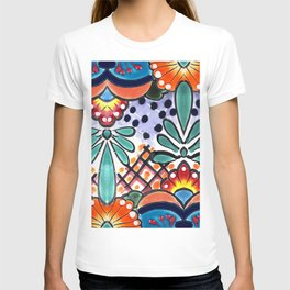 Colorful Talavera, Orange Accent, Large, Mexican Tile Design T-shirt