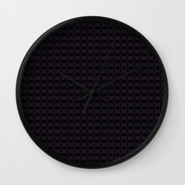 Black Gingham Pattern with Purple Accent Wall Clock