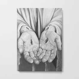 Jesus Hands Metal Print