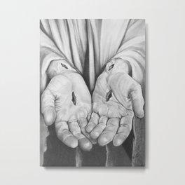 Jesus Hands Metal Print
