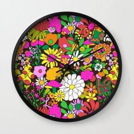 60's Groovy Garden in Chocolate Brown Wall Clock