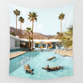 Pig Pool Party Wall Tapestry