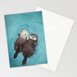 Otterly Romantic - Otters Holding Hands Stationery Cards