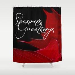Season's Greetings Poinsettia Shower Curtain