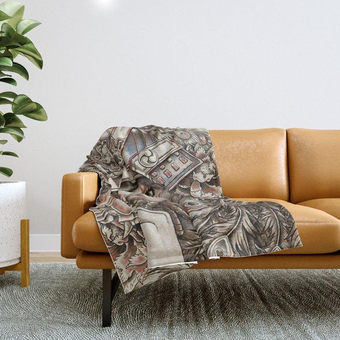 Peacock Samurai Throw Blanket