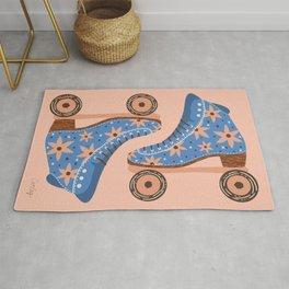 Retro Roller Skates – Blue & Peach Palette Rug
