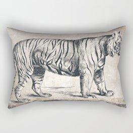 Vintage Tiger Sketch (Monochrome) Rectangular Pillow