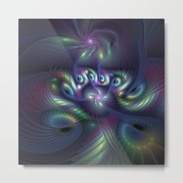 Mysterious, Abstract Fractals Art Colorful Fantasy Metal Print