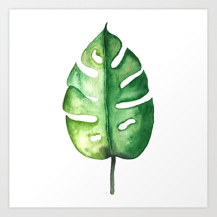 Watercolor Palm Leaf Art Print By Awamarc Society6