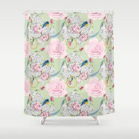 shabby chic Shower Curtains featuring Shabby Chic Bluebirds and Roses by KarenHarveyCox