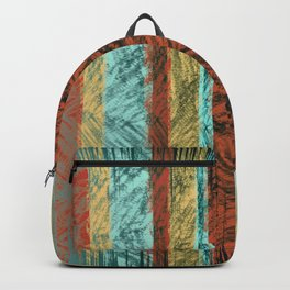 Tribal Scratch Stripes Orange Turquoise Straw Yellow Backpack