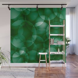Dark intersecting green translucent circles in bright colors with a grassy glow. Wall Mural