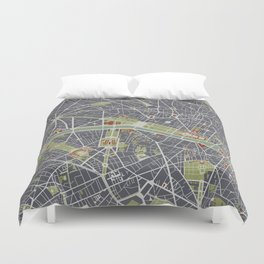 Paris city map engraving Duvet Cover