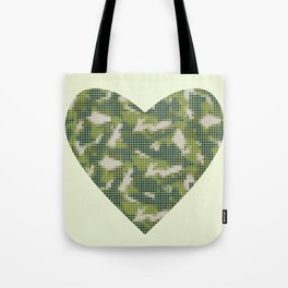 Military camo love heart, mosaic grid art, green Tote Bag