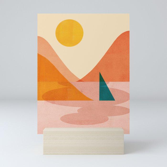 Abstraction_Lake_Sunset Mini Art Print