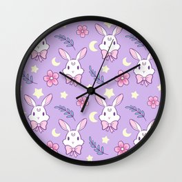 Sakura Bunny // Purple Wall Clock
