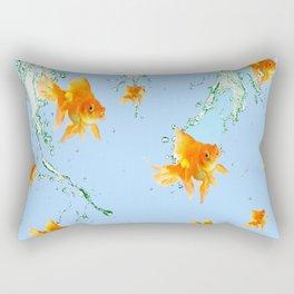 GOLDFISH AQUARIUM SPLASHING  WATER ART Rectangular Pillow