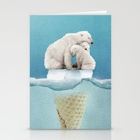 ice Stationery Cards featuring polar ice cream cap 02 by Vin Zzep