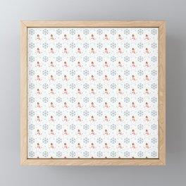 Snowmans snowball fight Framed Mini Art Print