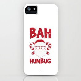 Bah Humbug Santa Candy Cane Glasses Anti Long Sleeve Cool Humor Pun Gift Design iPhone Case