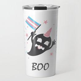 Trans Ghost Transgender Pride Flag Halloween LGBT Light Travel Mug