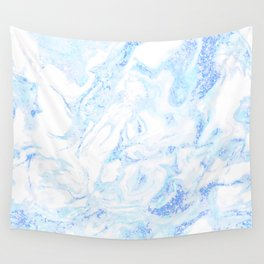 White Marble with Pastel Blue Purple Teal Glitter Wall Tapestry