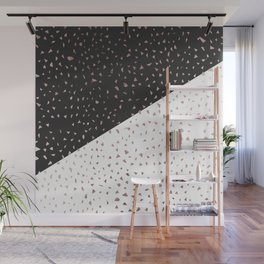 Speckled Rose Gold Flakes on Black White Geometric Wall Mural