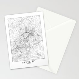Santa Fe White Map Stationery Cards