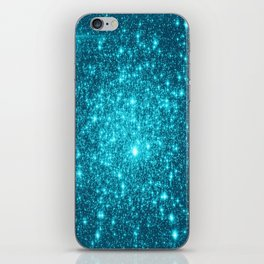Turquoise Teal Sparkle Stars iPhone Skin