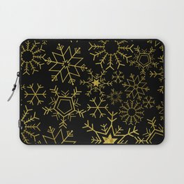 Gold and black snowflakes Laptop Sleeve