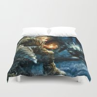 bioshock Duvet Covers featuring Bioshock Big Daddy Showdown by Joe Misrasi
