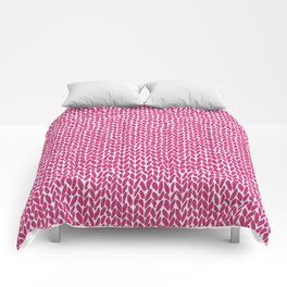 Hand Knit Hot Pink Comforters